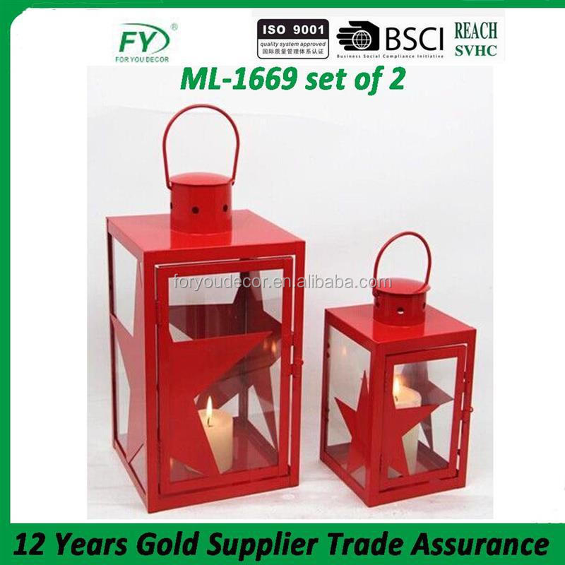 Top quality red chinese new year moroccan wedding decoration metal lantern with star design ML-1669 set of 2