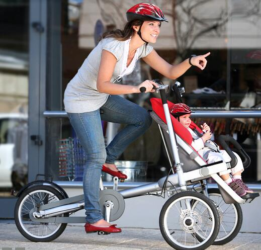 mom carry baby bike tricycle baby stroller