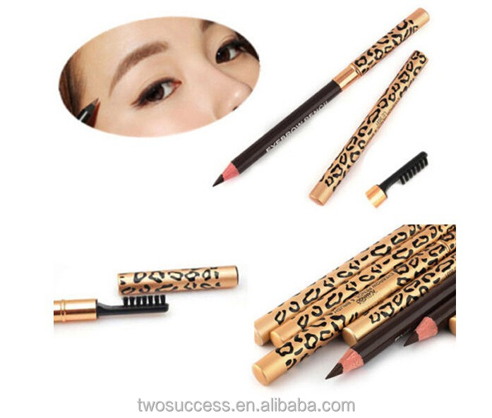 High Quality Durable waterproof Brow Grooming Kit Leopard pen With Brush Cosmetic Make Up black Eyebrow Eyeliner Pencil