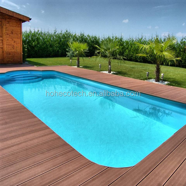 Sanding/embossed solid wood flooring for swimming pool