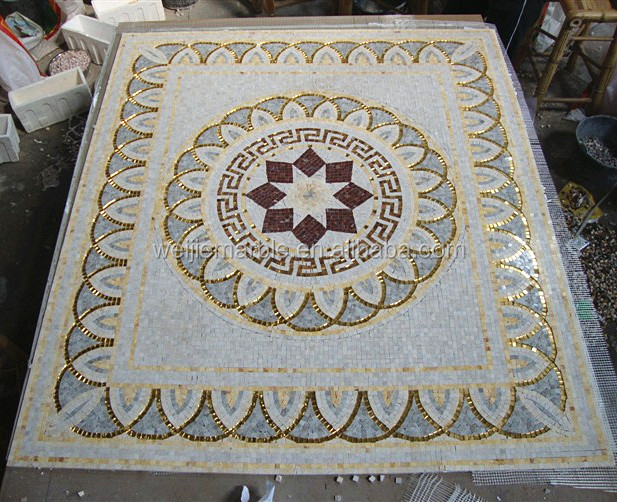 Cheap marble gold mosaic floor medallion from china