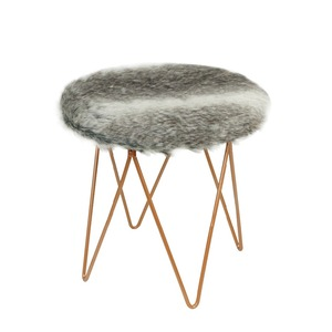 Astounding Hot Flokati Foot Stool Faux Fur Round Ottoman For Kids Upholstered Fabric Footstool Ottoman Pabps2019 Chair Design Images Pabps2019Com