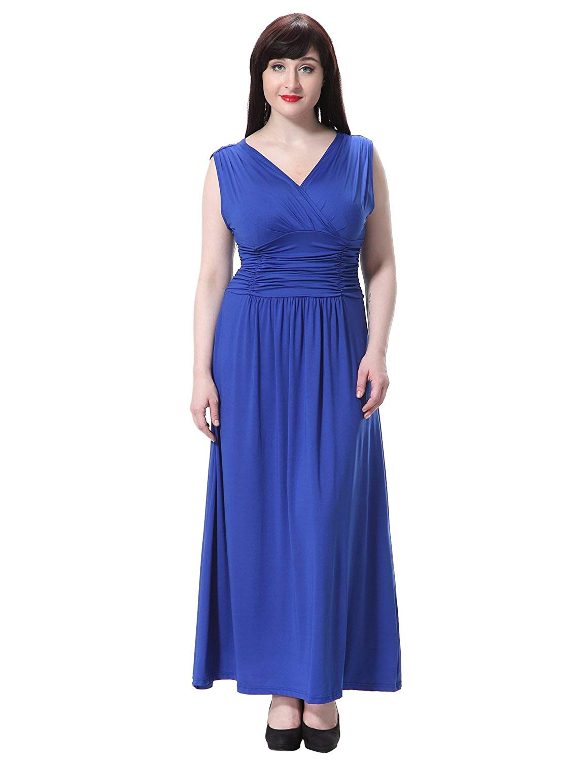 f2da3eed71a Get Quotations · Sue Joe Women s Maxi Dress Summer V-neck Ruched Empire  Waist Formal Plus Size Gown
