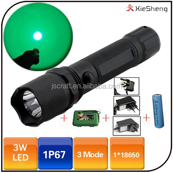 Camping 18650 batterie étanche police rechargeable vert led chasse lumière