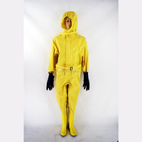 Low price wholesale Red Conjoined style rubber pvc chemical Protective Safety Suit