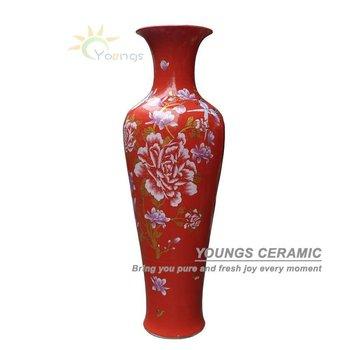 Large Red Porcelain Yulan Magnolia Floor Vase For Indoor Home Decor