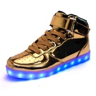 High Top Casual Led Light up Sport Shoes Men, Adult Gold LED Light up Shoes, bulk led shoes wholesale