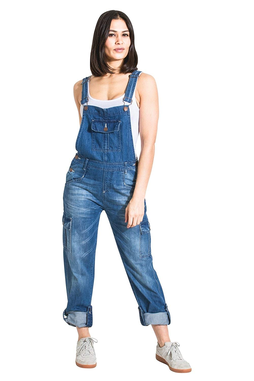 800673ad8fbf Get Quotations · USKEES Womens Denim Bib-Overalls - Faded Blue Relaxed fit  Roll-up Leg Dungarees