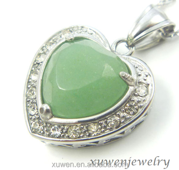 Light green jade crystal natural stone heart shape 316l stainless light green jade crystal natural stone heart shape 316l stainless steel murano glass pendant mozeypictures Choice Image