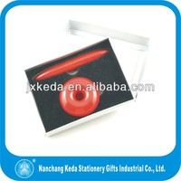 red color office copper pen metal logo printing table pen