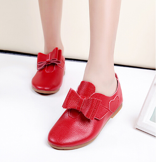 New Arrival 2015 Autumn Girls Soft Bottom Leather Shoes Korean Princess Shoes Kids Children's Bowknot LOVE Comfortable Shoes
