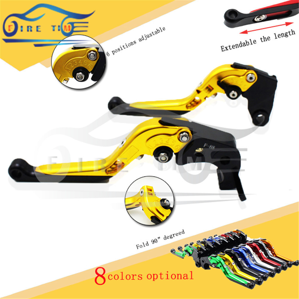 new motorcycle brake clutch lever golden cnc foldable extendable brake clutch levers FOR KAWASAKI ZX1400 / ZX14R / ZZR1400 06-12