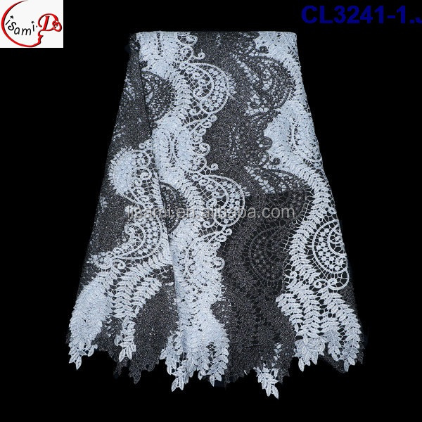 CL3241-12016 Top design fop quality low price floral embroider print guipure lace with fancy sequains for making clothes