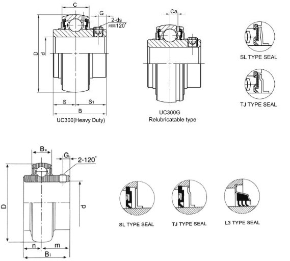 UC305 bearing drawing
