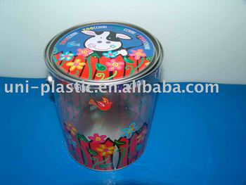 Clear paint can pvc buckets with tinplate lid and bottom for 1 gallon clear plastic paint cans