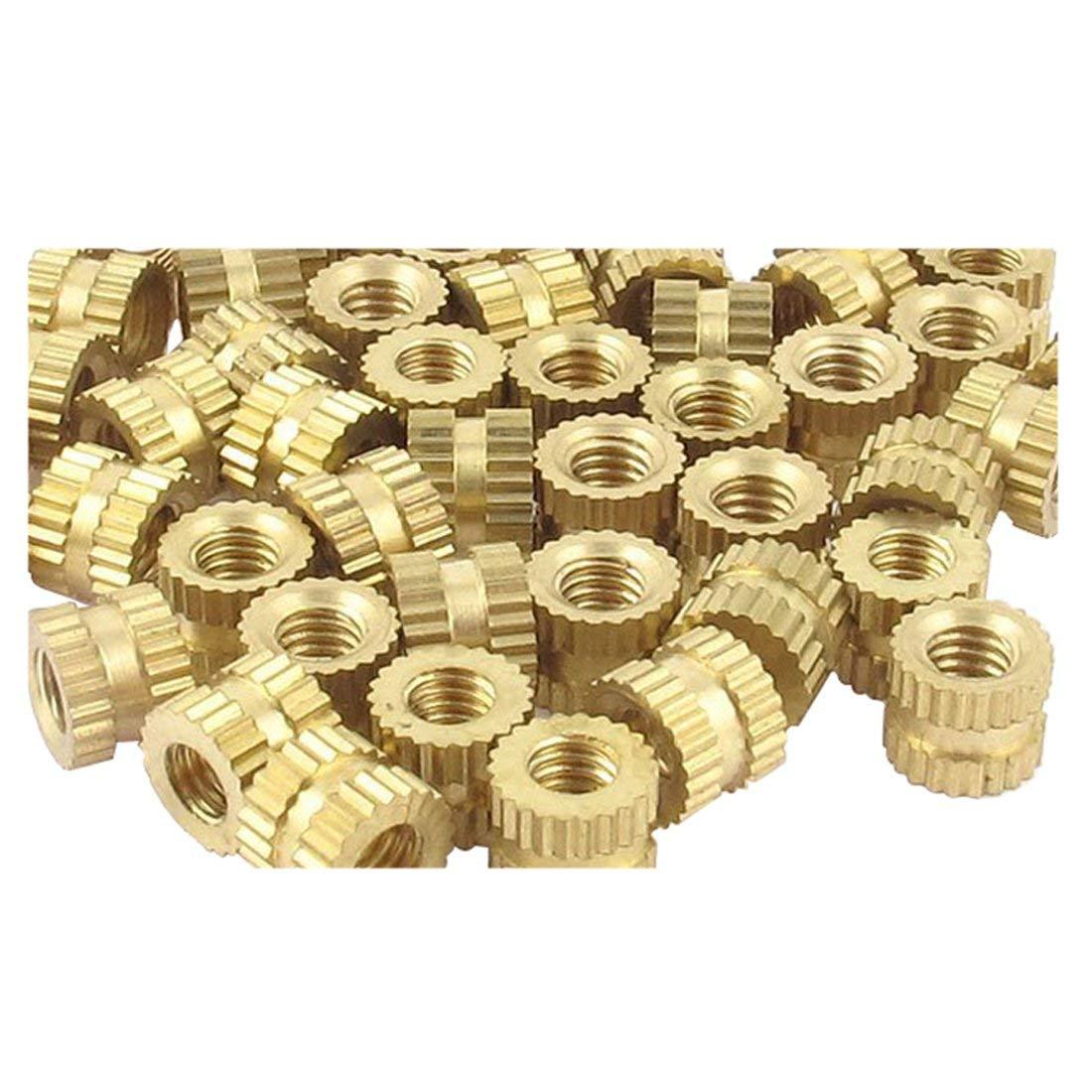 Axiwen 10Pcs Injection Molding Brass Thread Knurled Inserts Nuts 3mm x 5mm x 4mm