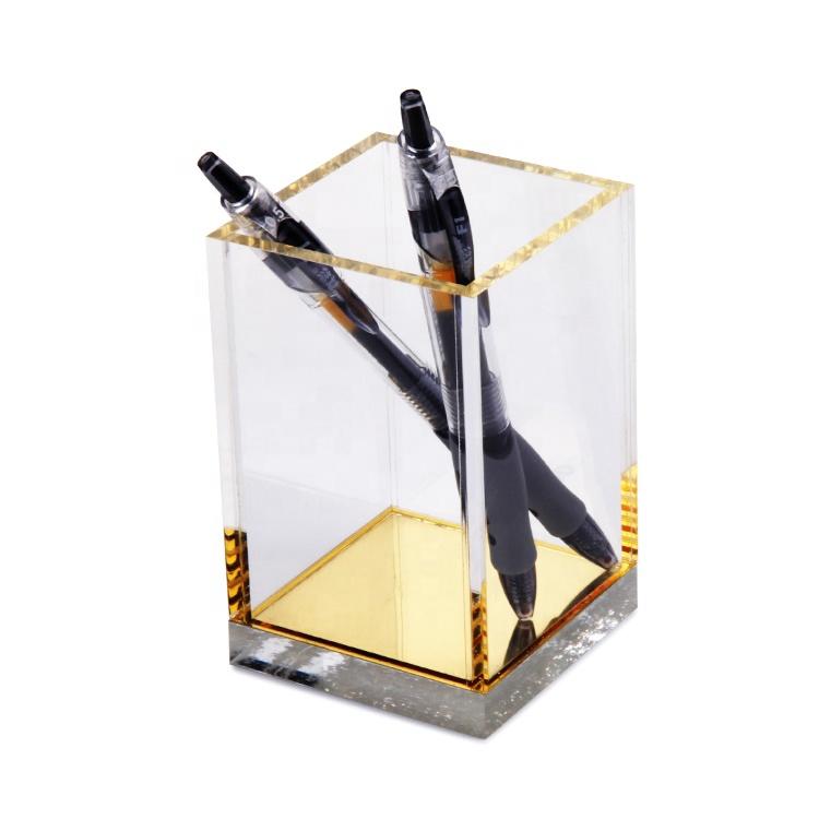 การออกแบบที่ทันสมัยโต๊ะทำงานอุปกรณ์เสริม Gold สก์ท็อปเครื่องเขียน Acrylic Penholder