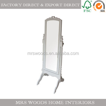 French Shabby Chic Antique White Wooden Floor Stand Dressing Mirror ...