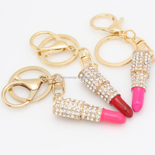 FC870 Metal crystal lipstick key ring of handicraft bag car hang a key ring