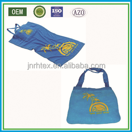 100% cotton reactive imprinted beach towel with bag