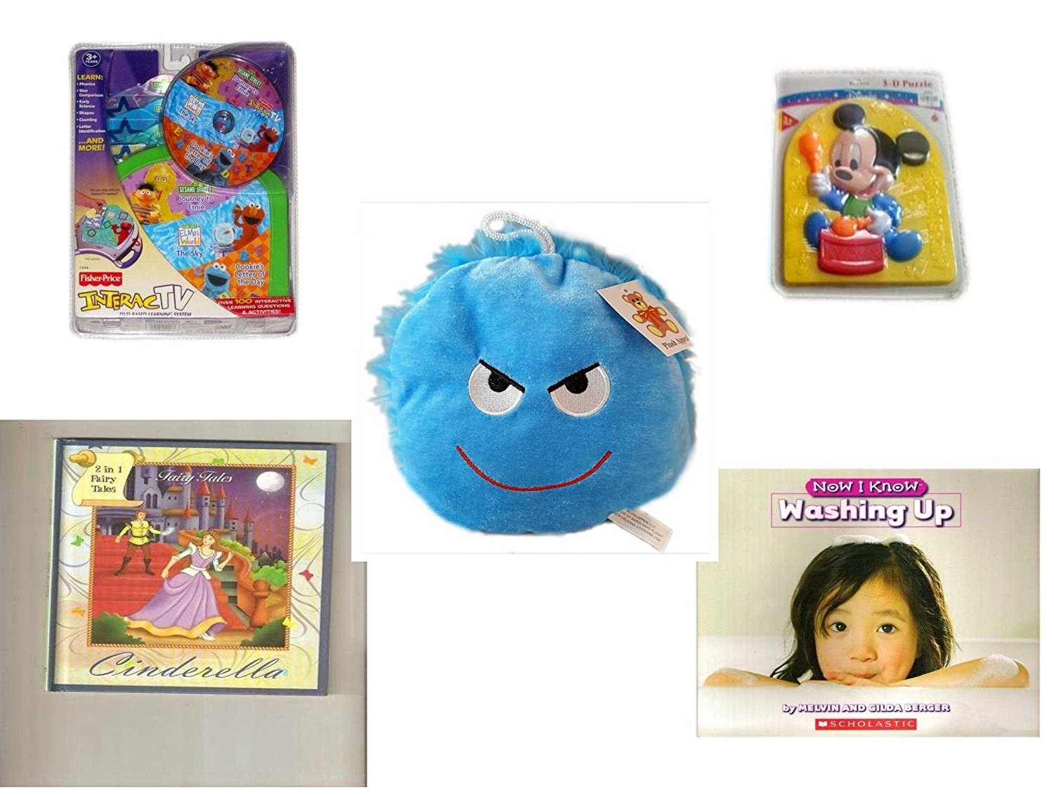 """Children's Gift Bundle - Ages 3-5 [5 Piece] - InteracTV Sesame Street Volume 1 - Preschool Disney Baby Mickey 3D Puzzle Toy - Plush Appeal Bright Blue Mischievous Face Plush 7"""" - 2 in 1 Fairy Tales:"""