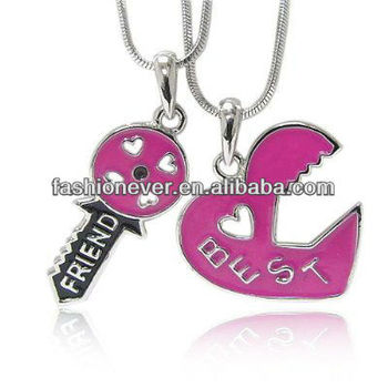 Hot Pink Best Friend Two Pendants Necklace Fashion Jewelry #0: Hot Pink Best Friend Two Pendants Necklace 350x350