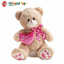 plush stuffed valentines teddy bears wholesale with soft pink heart