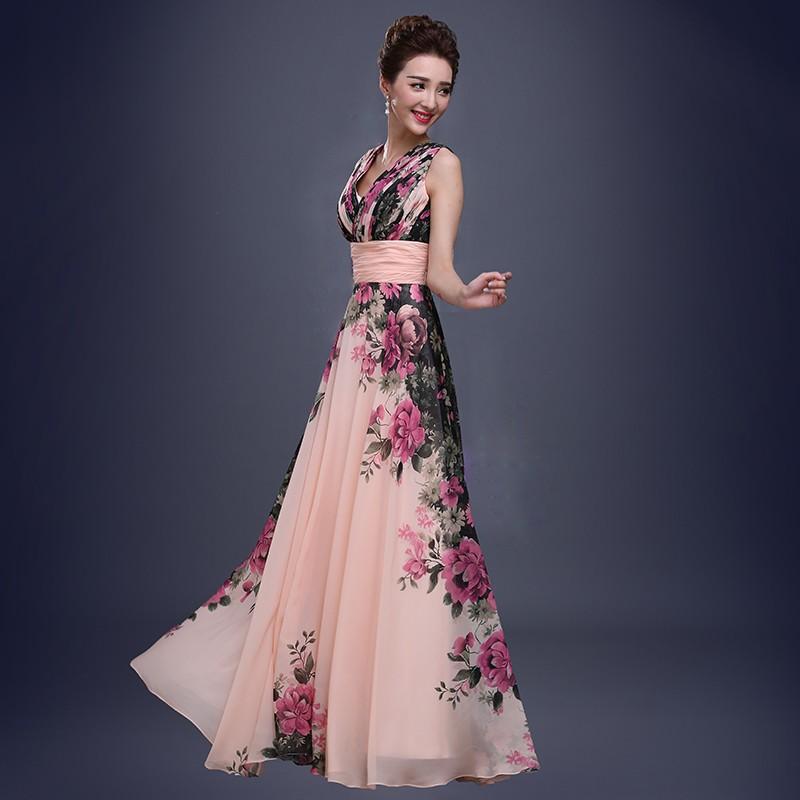 4f2e00f928ff moda elegante fiore di stampa profondo scollo a v abito da sera abito lungo  in chiffon