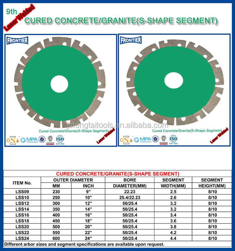 4.5inch diamond fine turbo blade for dry cutting granite