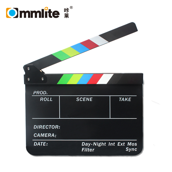 Commlite Acrylic Plastic Dry Erase Director's Film Movie Clapboard Clapperboard with Color Sticks (9.85x11.8 inch)