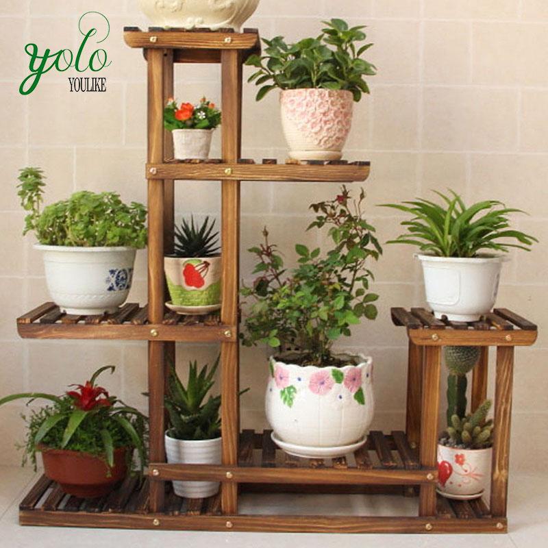 Bamboo Wooden Decorative Flower Pot Shelf Garden Indoor Plant