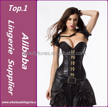 e49ce949b Factory Directly Hot Sale Black Leather Sexy Gothic Corset Dress ...