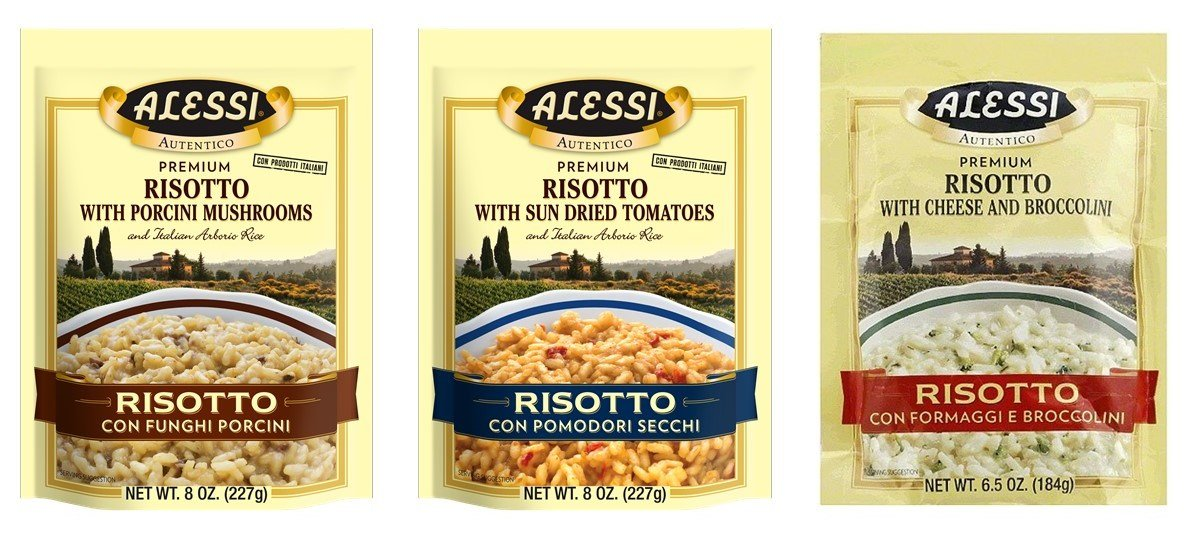 Alessi Premium Risotto 3 Flavor Variety Bundle, (1) Each: Sun Dried Tomatoes, Cheese and Broccolini, Porcini Mushroom (6.5-8 Ounces)
