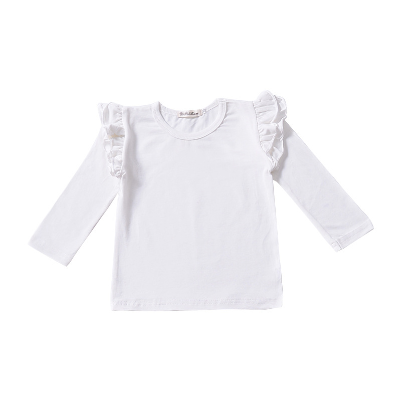 Toddler Tops Girls Fly Ruffled Raglan Toddler Top Monograming Kids Blanks Clothes