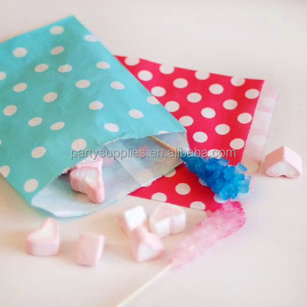Eco-friendly Red Polka Dot Paper Favor Bags for Wedding Decoration