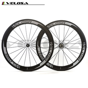 Velosa logo carbon bicycle wheels with Powerway R51 hub 700C chinese carbon road wheelset 60mm 25mm wide