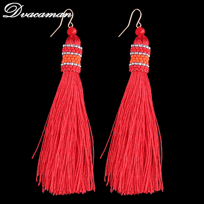 Dvacaman 5 colors Ethnic Bohemi Tassel Drop Dangle Statement Earrings for Women Antique Fringing earrings wholesale 6559