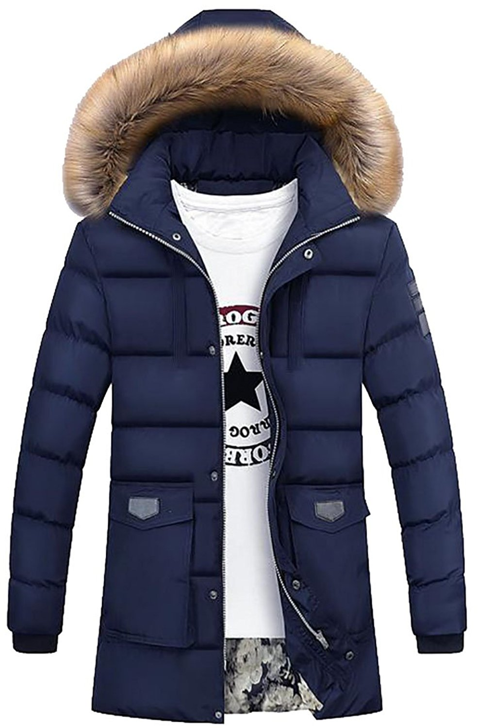 Pivaconis Mens Fur Collar Casual Hooded Padded Parka Jackets Winter Coats