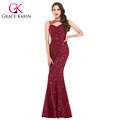 2016 GK Sleeveless Sexy Wine Red Mermaid Hollowed Sequined Prom Dress GK000013-1