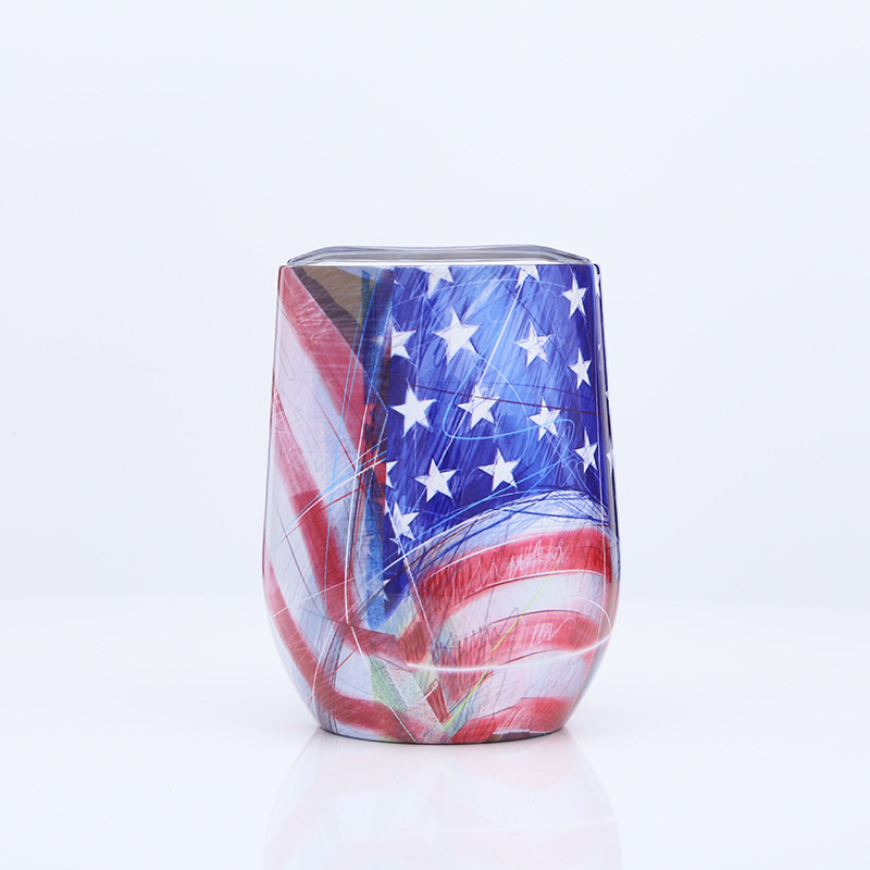 12oz Camouflage Customized Double Wall Glass Cup with Lid Insulated Stainless Steel Tumbler
