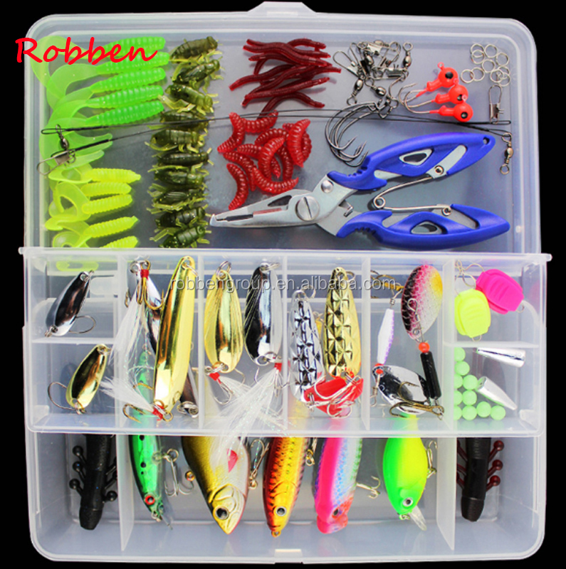 101pcs Fishing Lure Kit Mixed Minnow/Popper Spinner Spoon Lure With Hook Isca Artificial Bait Fish Lure Set Pesca