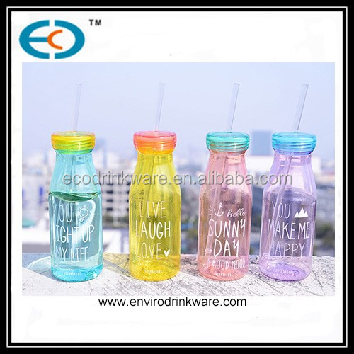 550ml plastic milk water bottle with straw