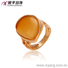 13024 Fine jewelry fashion ring new design ladies copper alloy 18k gold single stone finger ring