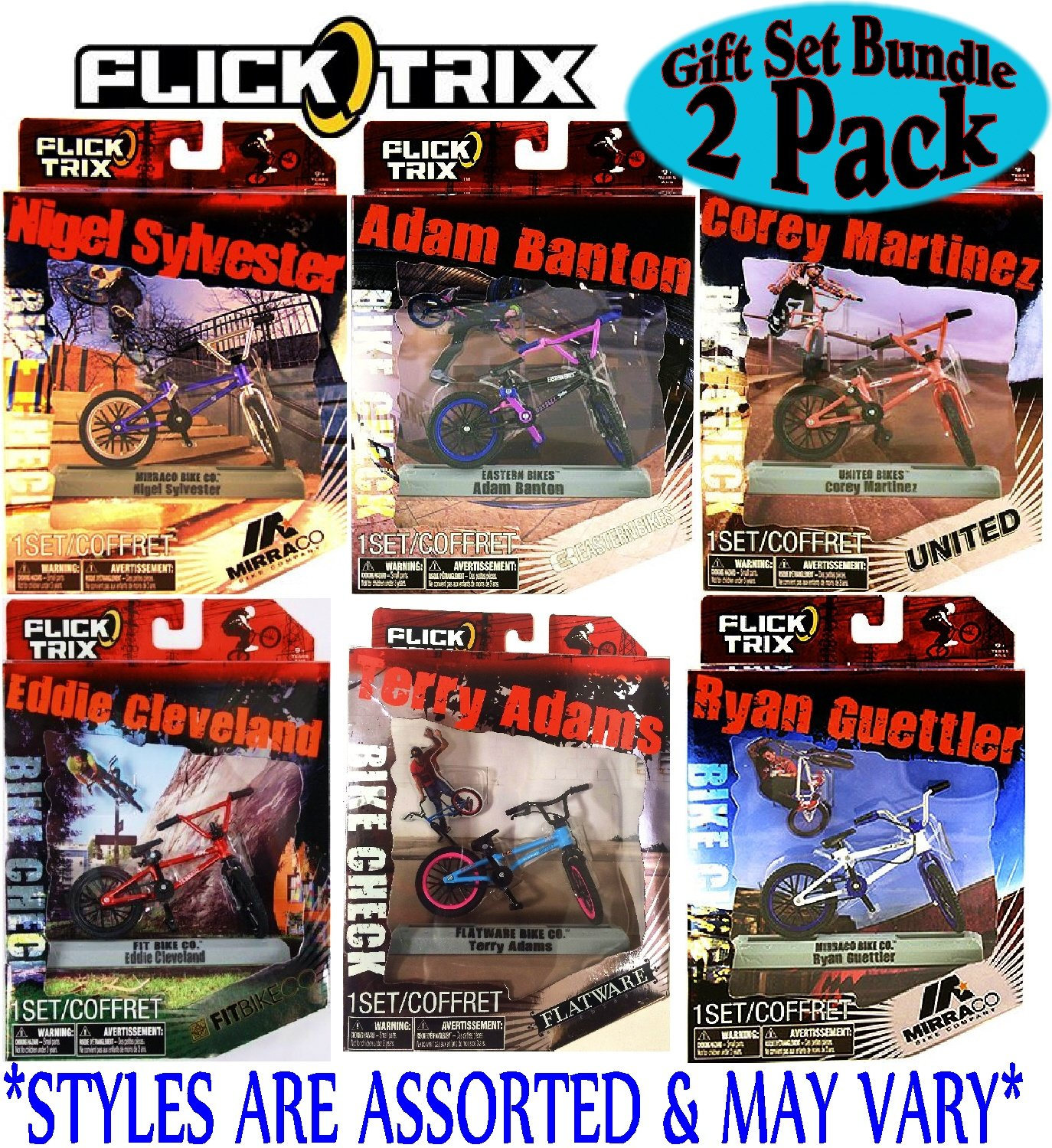 Flick Trix Deluxe Finger Bikes with Display Stand Gift Set Bundle - 2 Pack (Assorted Styles)