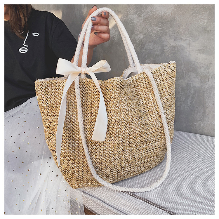 2019 single-shoulder girls large capacity portable tote straw bag fashion resort beach bag