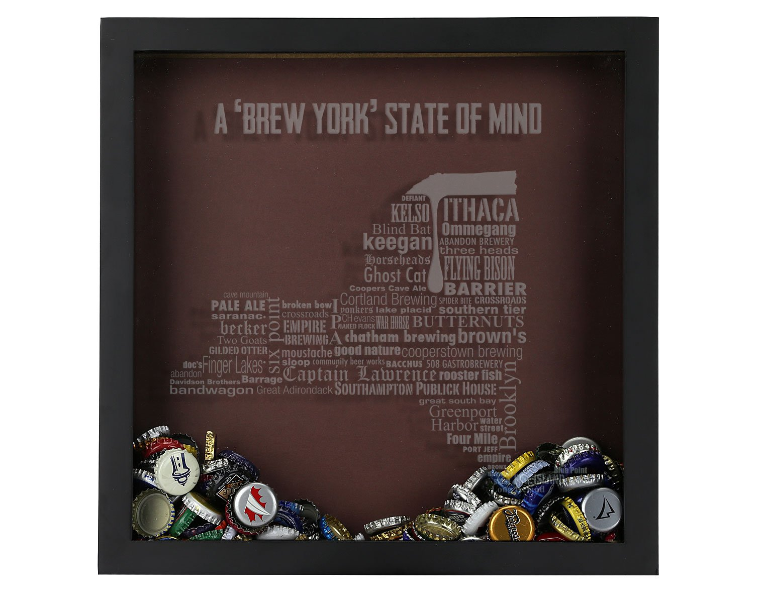 Beer Cap Shadow Box, California Typography, New York Craft Beers