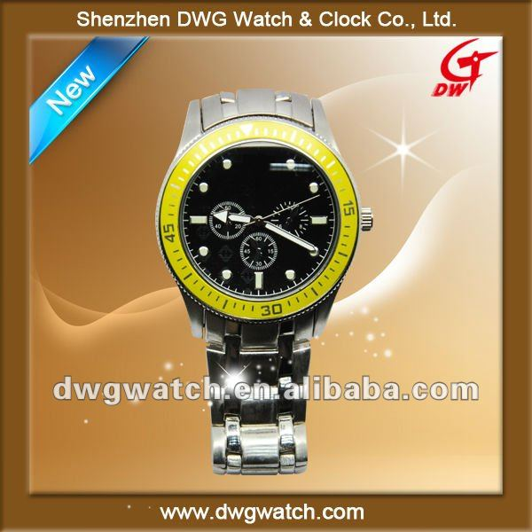2012 Top brand alloy men's watch with rotatable aluminum ring
