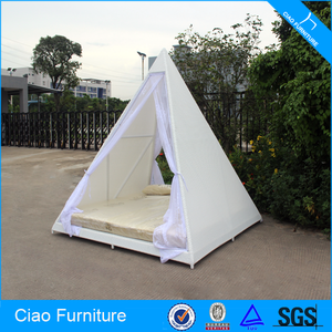 Home Rattan Furniture Pyramid Shape Bedroom White Mesh Bed