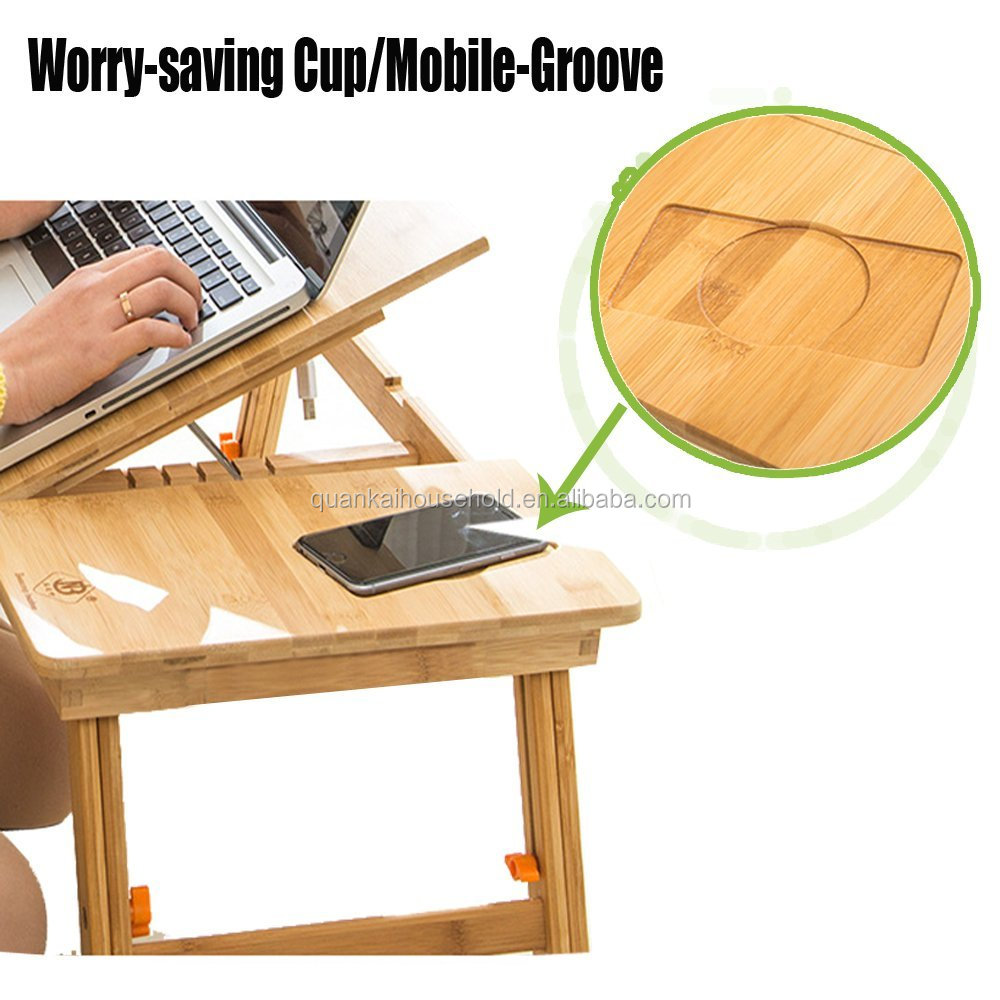 Korie Portable Multi-Functional Natural Bamboo Laptop Stand