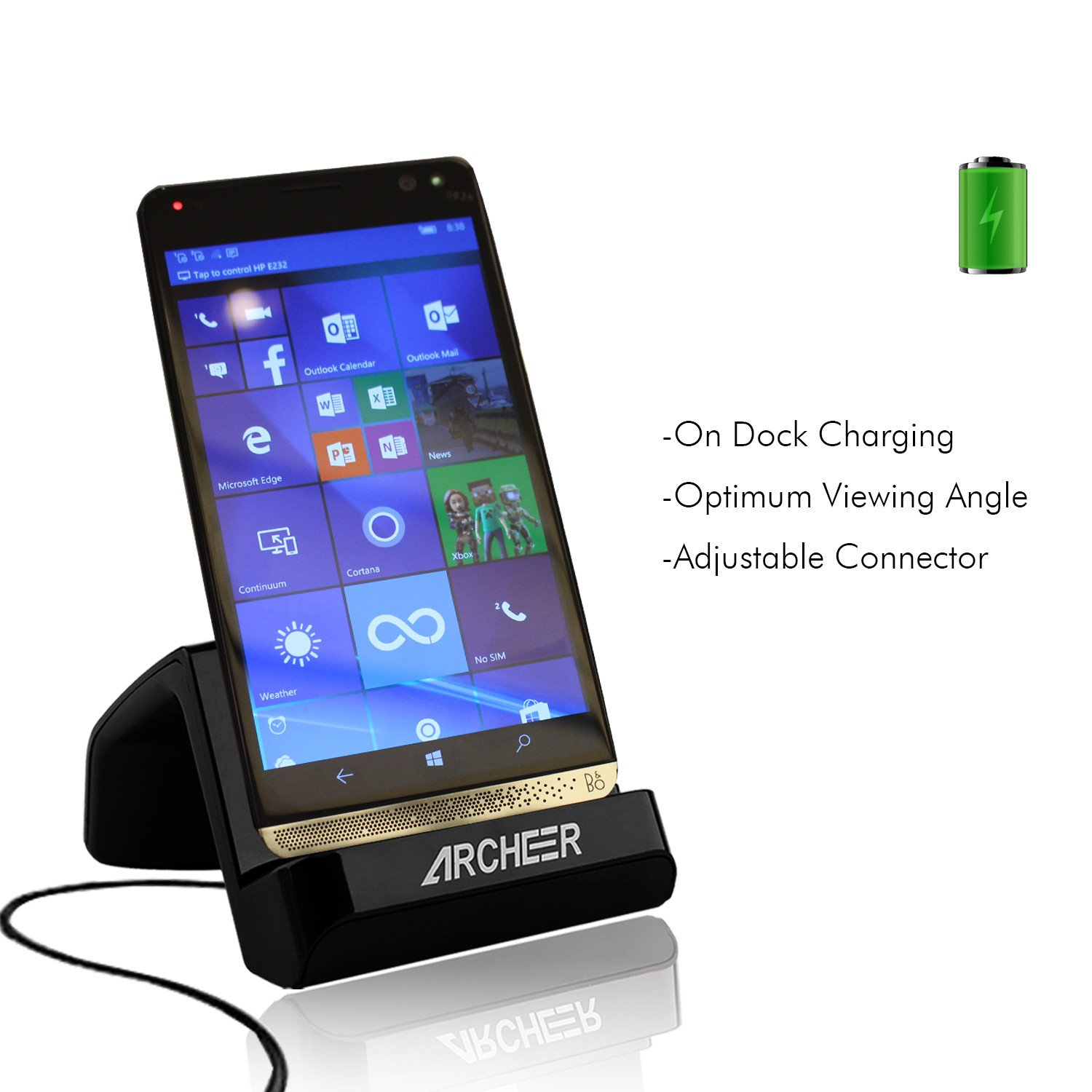 USB Type C Charger ARCHEER USB C Charging Dock Cradle Charging Desktop Cellphone Stand Charger for HuaWei P9, LG G5, HTC 10, HP Elite X3, Nexus5X, Nexus 6P, Lumia 950XL, Oneplus 3